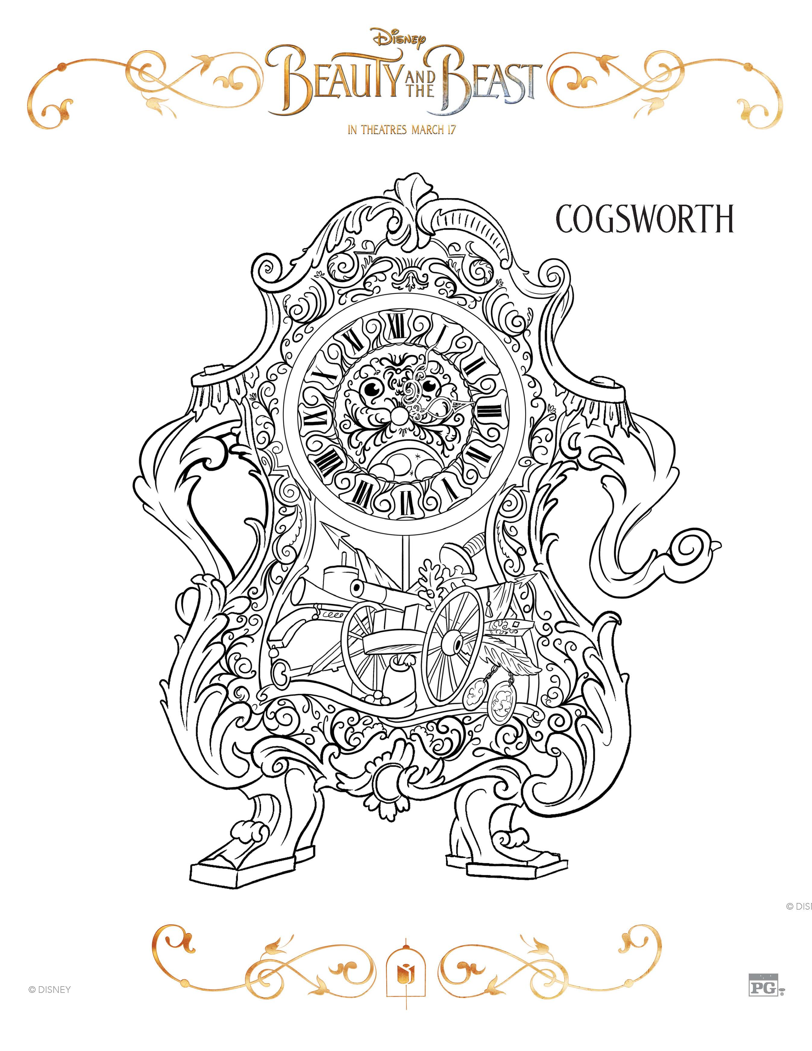 Beauty and the Beast free coloring sheets