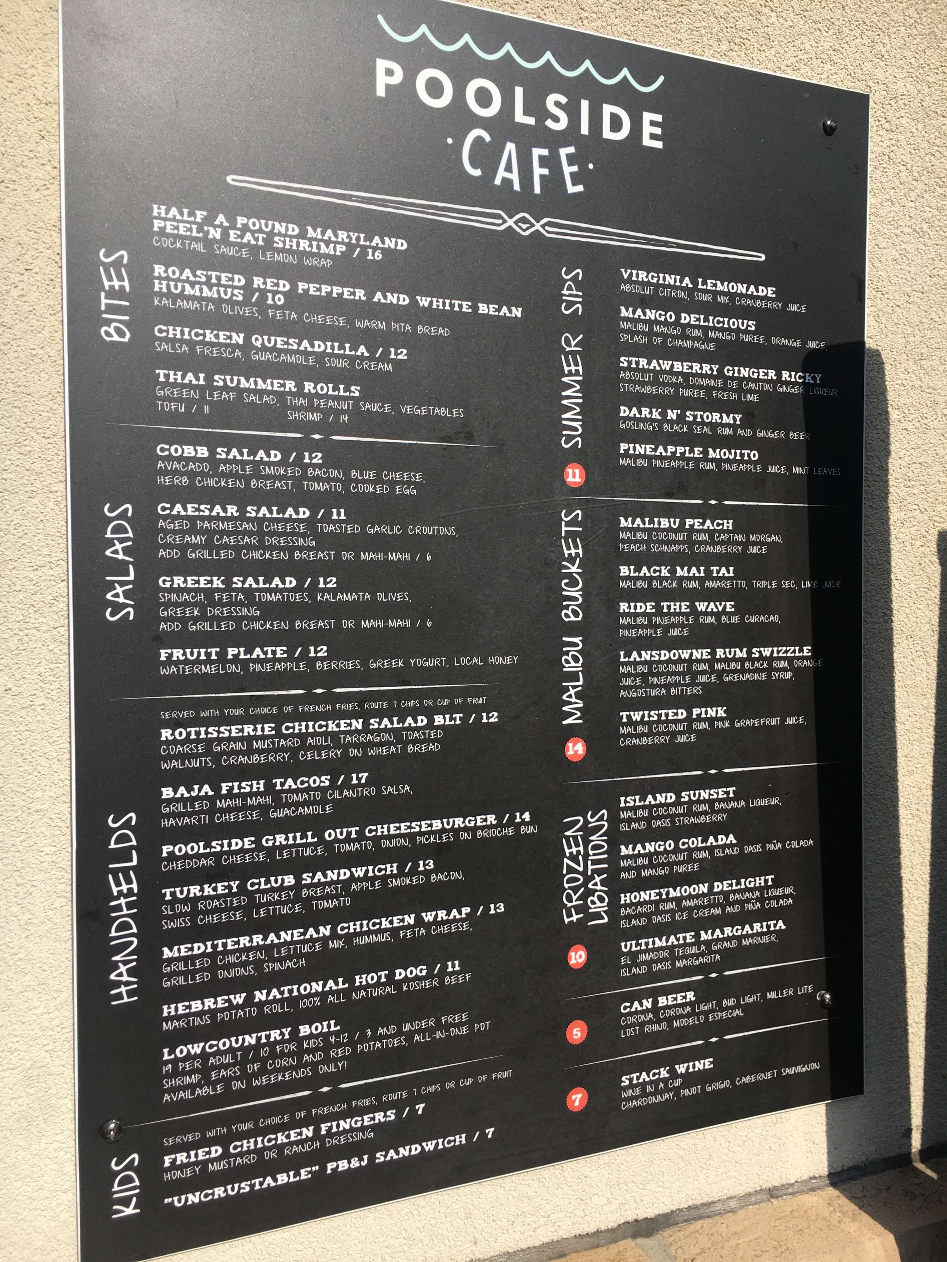 menu at landsdowne resort and spa