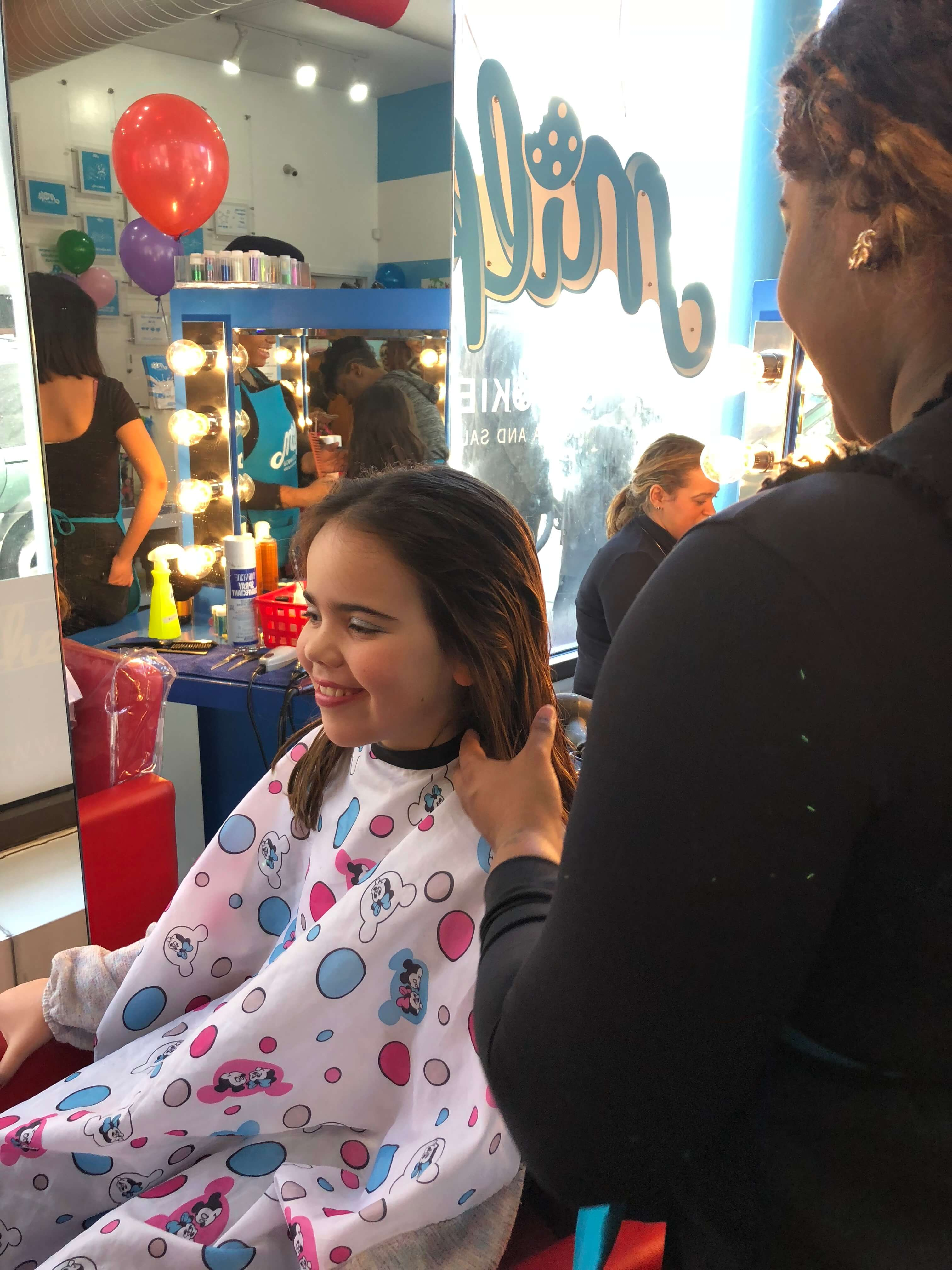 Party and Pampering at The Milk & Cookies Kids Spa hair styled