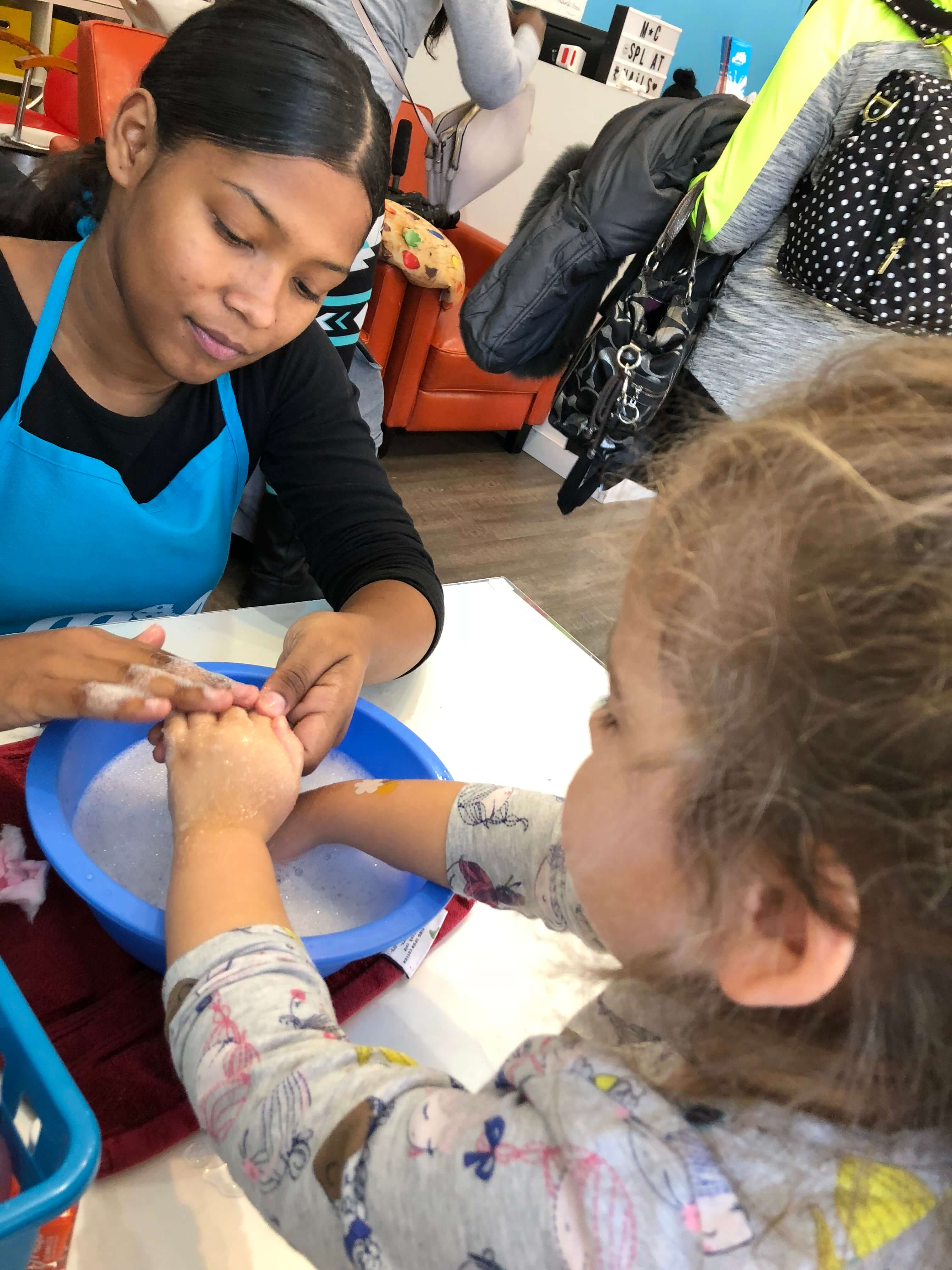 Party and Pampering at The Milk & Cookies Kids Spa manicure for kids