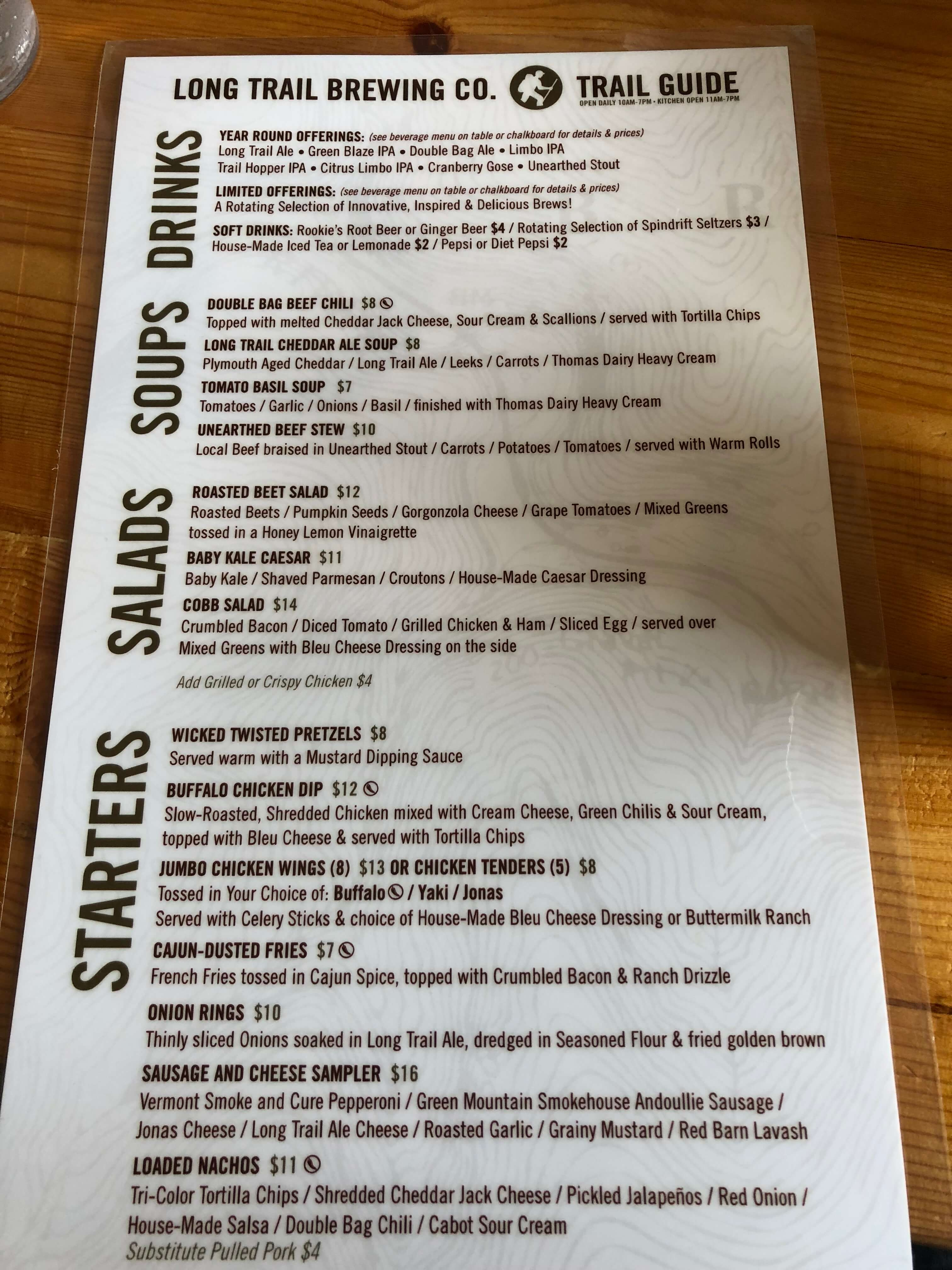 long trail brewery menu