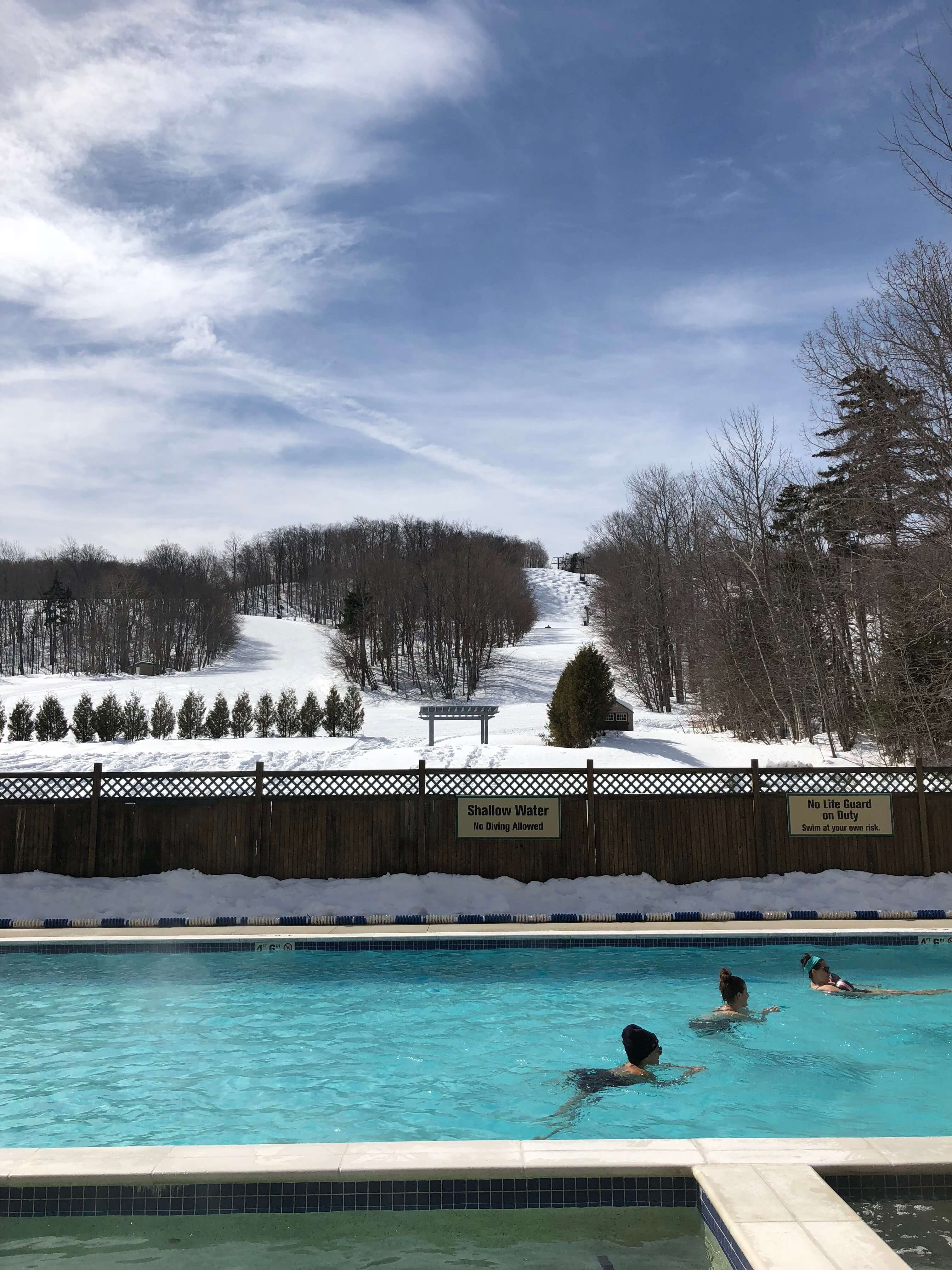 relaxing in the pool at mount snow