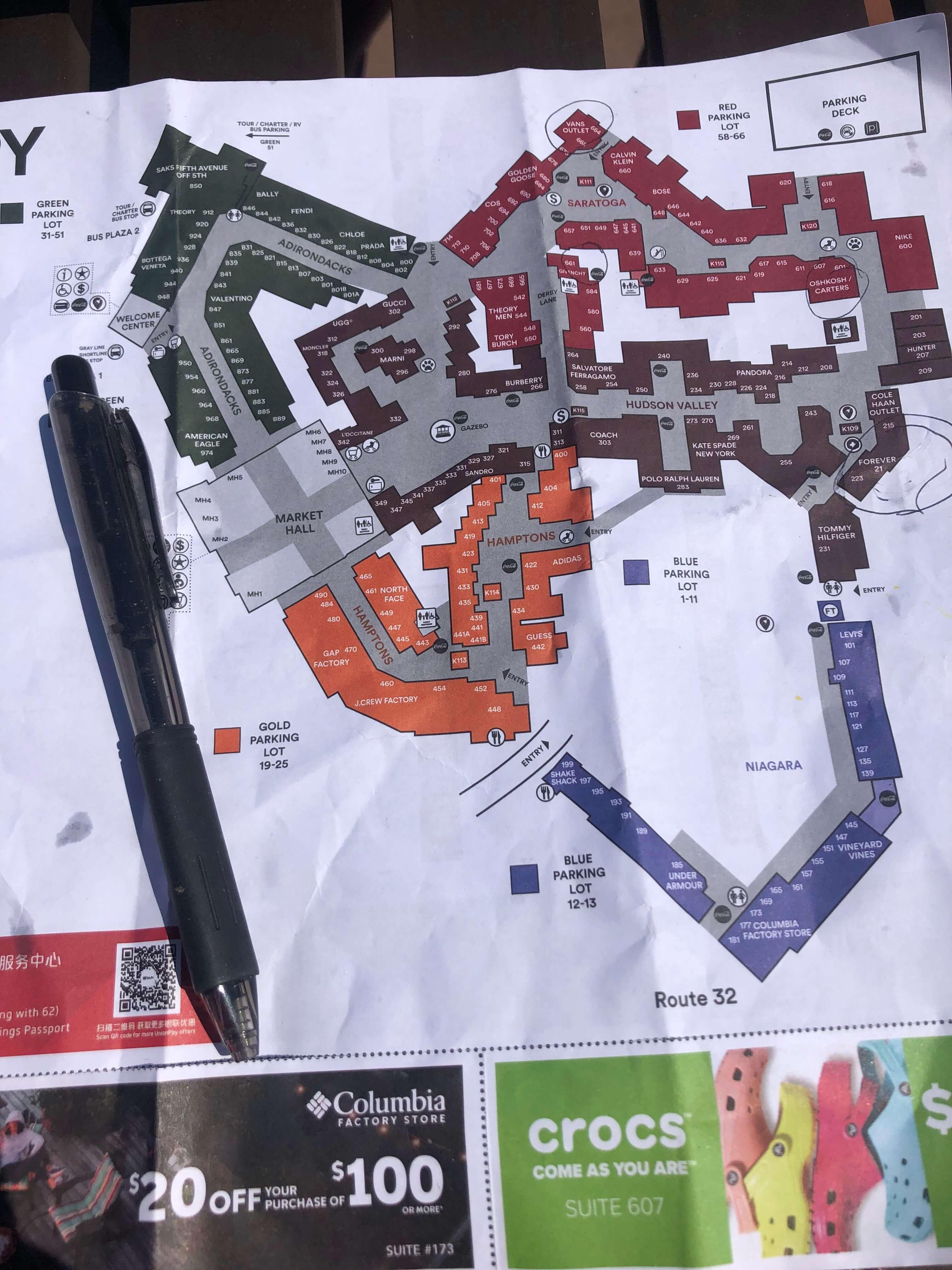 woodbury commons map