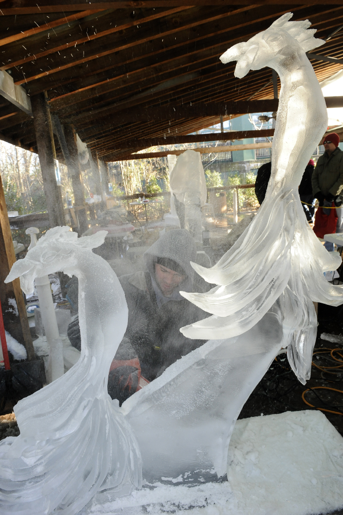 Nightly Ice Carving Demonstrations at the Bronx Zoo